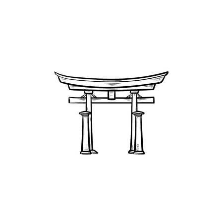 Japanese gate hand drawn outline doodle icon. Torii gate and japanese culture, traditional architecture concept. Vector sketch illustration for print, web, mobile and infographics on white background. Ilustração