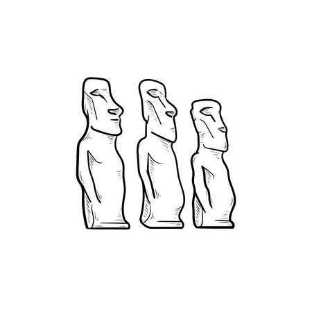 Easter island statues hand drawn outline doodle icon. History and statues, tourism and landmark concept. Vector sketch illustration for print, web, mobile and infographics on white background.