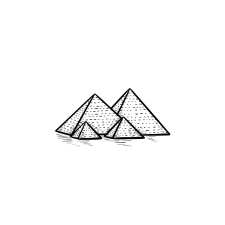 Egypt pyramids hand drawn outline doodle icon. Antient monument and tourism, history landmark concept. Vector sketch illustration for print, web, mobile and infographics on white background. Ilustrace
