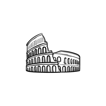 Rome coliseum hand drawn outline doodle icon. Famous italian landmark, travel and antient amphitheatre concept. Vector sketch illustration for print, web, mobile and infographics on white background. Çizim
