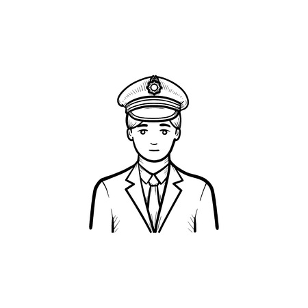 Train conductor hand drawn outline doodle icon. Train station, railway travel and transportation concept. Vector sketch illustration for print, web, mobile and infographics on white background.