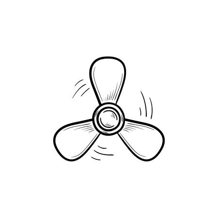 Icona di doodle contorni disegnati a mano elica barca. Elica del motore della nave, rotazione dell'elica e concetto marino. Illustrazione di schizzo di vettore per stampa, web, mobile e infografiche su sfondo bianco. Vettoriali