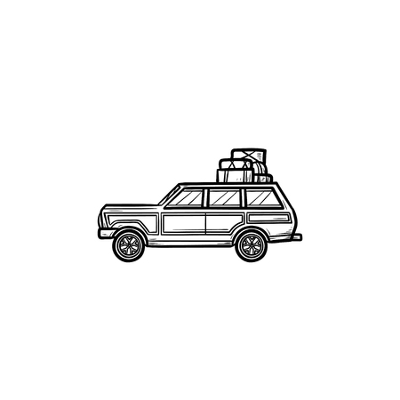 Minivan with roof rack and luggage hand drawn outline doodle icon. Family trip by minivan, vacation concept. Vector sketch illustration for print, web, mobile and infographics on white background.