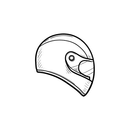 Motorhelm hand getrokken schets doodle pictogram. Motorbescherming en snelheid, veiligheidsuitrusting concept. Vector schets illustratie voor print, web, mobiel en infographics op witte achtergrond. Vector Illustratie