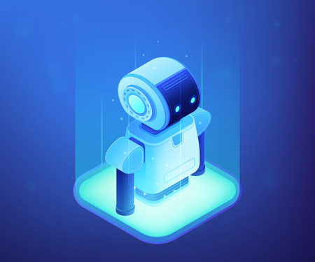 Modern robot appears. Robotics engineering and programming, robotics company and technology, robotics technology and artificial intelligence concept. Ultraviolet neon vector isometric 3D illustration. Vettoriali