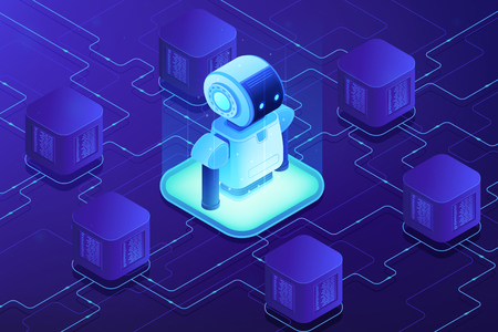 Modern robot connected to network. Cloud robotics and networking, robot monitoring and internet, robotics system and technology concept. Ultraviolet neon vector isometric 3D illustration.