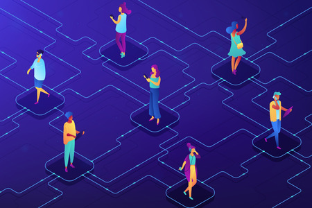 Users with mobile gadgets communicating in social network. Social media app and chat, integrated services and internet communication concept. Ultraviolet neon vector isometric 3D illustration. 일러스트