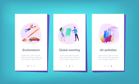 People in panic to announce global heating data. Globe with power plant and traffic fumes as a symbol of environment pollution, global heating impact. Mobile UI UX GUI template, app interface.
