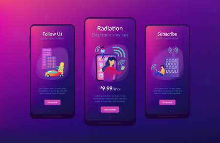 People using different electronic devices such as smartphone, laptop, tablet. Radio fields, electromagnetic pollution, radiation concept, violet palette. Mobile UI UX GUI template, app interface.