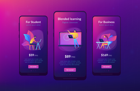 Students with laptop and lector in front of interactive board. Digital classroom landing page. Blended learning and smart classroom, modern education. App interface template. Illustration
