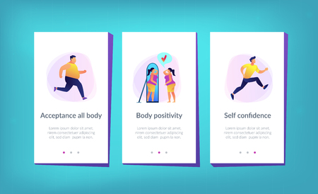 Plus size woman in front of the mirror as a concept of body positivity, acceptance and appreciation for all body types, body image, self confidence. Violet palette. Mobile UI UX app interface template.