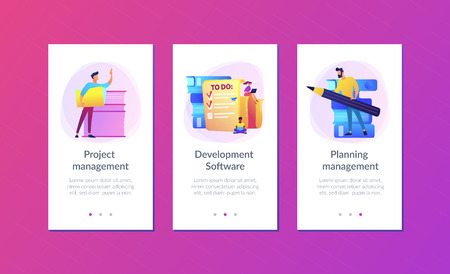 People feel in check boxes in to do list. Project task management it concept. Software development process and project management activities. Violet palette. Mobile UI UX app interface template. Stock Illustratie