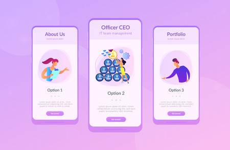 People building career pyramid with chief executive officer CEO on the top. Highest ranking manager, managing director in the IT company. IT team management concept. Mobile UI UX app interface templat