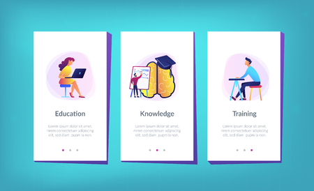 Brain with magnifier, academic cap and user learning. Education and learning style landing page. Learning and brain process, memory and knowledge. UI UX GUI app interface template.