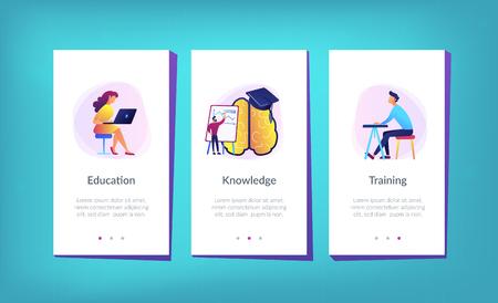 Cerebro con lupa, gorra académica y aprendizaje del usuario. Página de inicio de estilo de educación y aprendizaje. Aprendizaje y proceso cerebral, memoria y conocimiento. Plantilla de interfaz de la aplicación UI UX GUI.