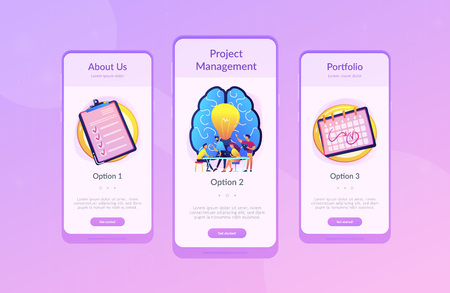 Business team working on project. Project management, business analysis and planning, brainstorming and research, consulting and motivation concept, violet palette. UI UX app interface template. Standard-Bild - 109647114