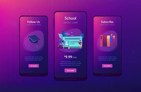School smart card with photo and users. Student profile and school attendance, student identification with microchip, school access and payment concept, violet palette. UI UX GUI app interface template.