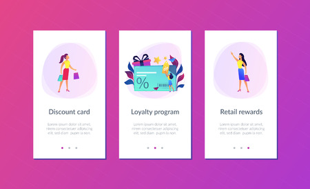 Discount card with percent sign and woman with discount tag. Loyalty program and customer service, retail and rewards card, loyalty points card concept, violet palette. UI UX GUI app interface template.