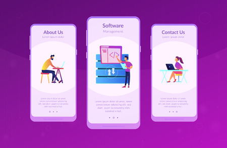 Two developers working with big data technology. Big data management and storage, database analytics and design, data software engineering concept, violet palette. App interface template.