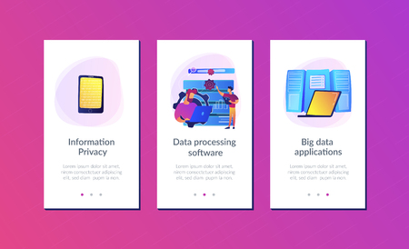 Developer using big data applications and tablet. Data processing software, database management and analysis, information privacy concept, violet palette. UI UX GUI app interface template.