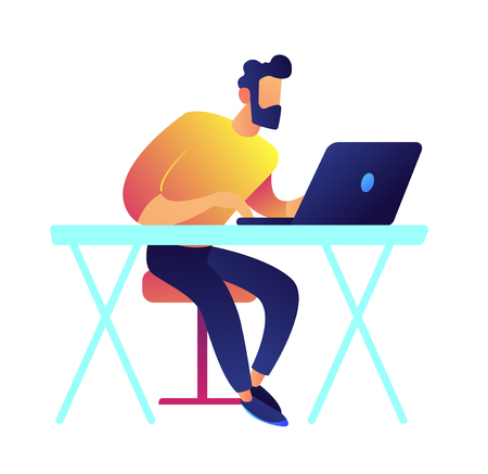Developer working on laptop at desk vector illustration. IT specialist and freelancer, professional employee and developer workplace, working and studying online concept. Isolated on white background.