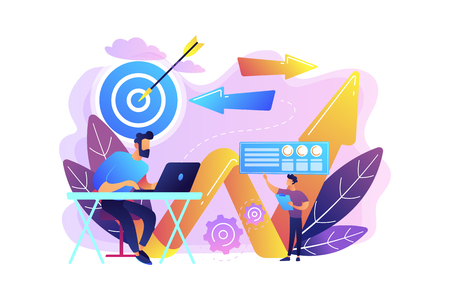 Businessman with laptop, target and arrows. Business direction and strategy, turnaround and change direction campaign concept on white background. Bright vibrant violet vector isolated illustration Standard-Bild - 128544579