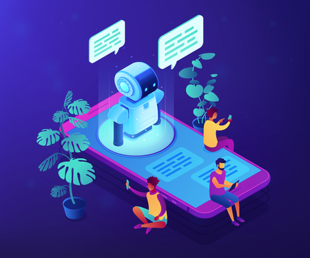 Users with digital gadgets sitting on smartphone screen and chatting with chatbot. Social media bots, messenger chatbot, auto reply software concept. Ultraviolet neon vector isometric 3D illustration.