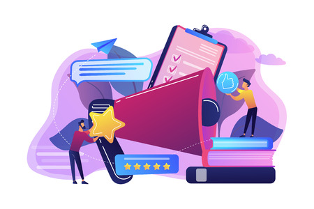 Megaphone and businessmen rate with stars and thumb up icons. Rank and rating scale, high-ranking, top-ranking concept on white background. Bright vibrant violet vector isolated illustration