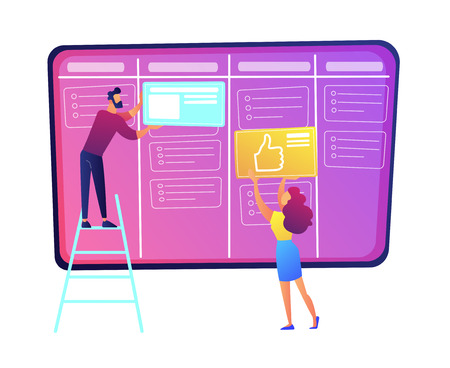 Programmers putting cards on kanban board vector illustration. Scrum planning of teamwork and agile organizer, project management system and strategy, project concept. Isolated on white background.