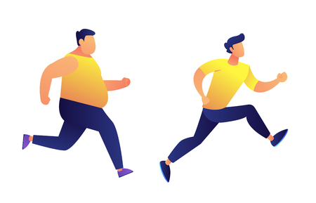 Fat and slim men running vector illustration. Keeping fit and fitness exercises, jogging competition and sport achievement, weight loss and healthy lifestyle concept. Isolated on white background.