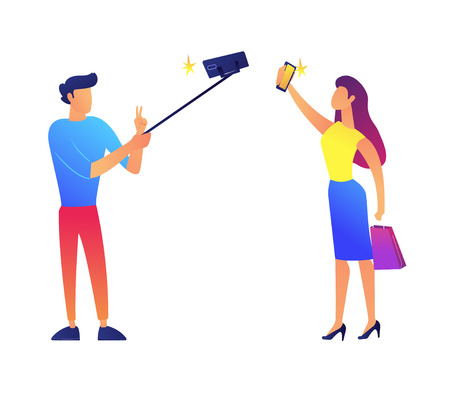 Businessman taking selfie with selfie stick and businesswoman with smartphone vector illustration. Taking selfie and social media, communication and blogging concept. Isolated on white background.