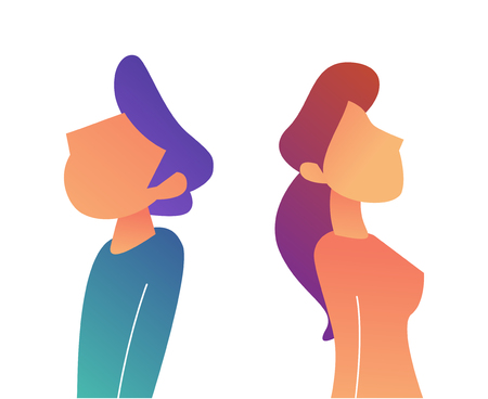 Businessman and woman standing turned back to back vector illustration. Conflict in relationship and disagreement, angry and arguing, breakdown and divorce concept. Isolated on white background.