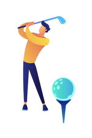 Businessman playing golf vector illustration. Playing golf and healthy lifestyle, sport competition and tournament success, leisure time and golf achievement concept. Isolated on white background. Иллюстрация