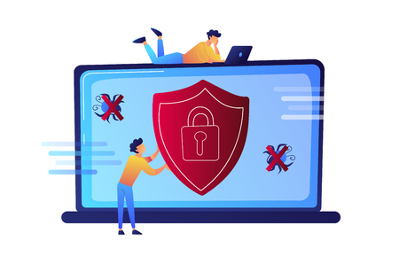 Programmer trying to protect his laptop from virus and protection shield vector illustration. Cyber security and antivirus protection, computer security concept. Isolated on white background.