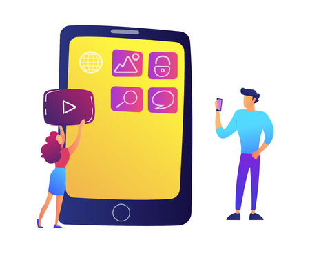 IT specialists creating mobile applications on smartphone screen vector illustration. Mobile app and UI development, smartphone interface and navigation concept. Isolated on white background.