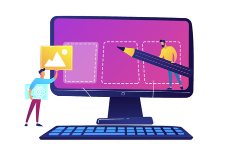 IT specialists team creating webpage on computer screen and filling with content vector illustration. Web site design development and content creating, webdesign concept. Isolated on white background.