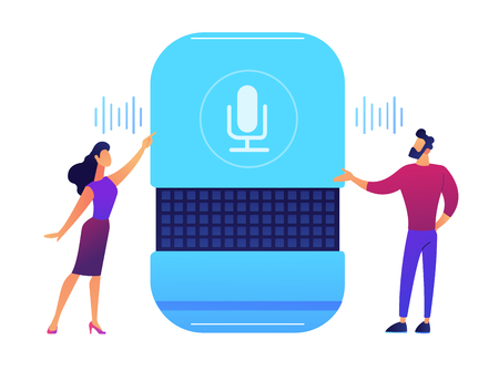 Users giving voice commands to smart speaker vector illustration. IoT technology and voice controlled digital devices, speach recognition and smart home concept. Isolated on white background.
