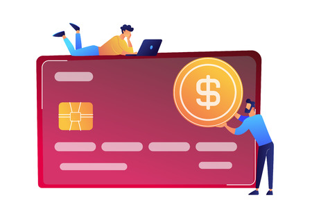 Businessman with dollar coin and huge credit card vector illustration. 向量圖像