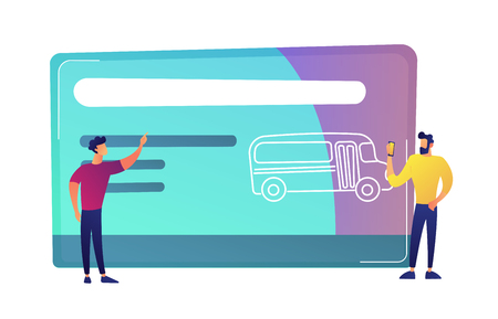 Two men near huge public transport travel card with bus vector illustration. Public transport pass and card, pre-purchased trips, transport wireless payment concept. Isolated on white background. 일러스트