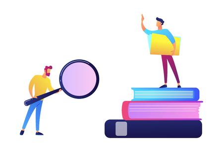 Studente con lente d'ingrandimento e studente in piedi su una pila di libri illustrazione vettoriale. Istruzione e scienza, ricerca e indagine degli studenti, concetto di conoscenza. Isolato su sfondo bianco. Vettoriali