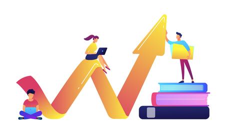 Squadra di affari con i computer portatili che si siedono sull'illustrazione di vettore della freccia di grande crescita. Carriera e studente di successo, sviluppo aziendale e finanza, aumento e concetto di cowork. Isolato su sfondo bianco.