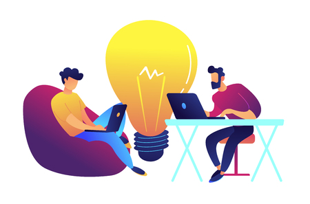 Two programmers working with laptop and big bulb vector illustration. Searching for ideas and working together, start up and brainstorming, teamwork concept. Isolated on white background.