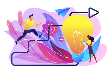 Businessman running up stairs arrow to lightbulb. Creative inspiration, how to find inspiration and unlocking creativity concept on white background. Bright vibrant violet vector isolated illustration