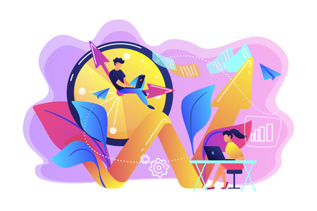 Businessman working on clock hand and businesswoman with laptop. Productivity, efficiency of production, qualification concept on white background. Bright vibrant violet vector isolated illustration