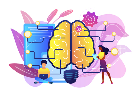 Big brain with circuit and programmers. Artificial intelligence, machine learning and data science, cognitive computing concept on white background. Bright vibrant violet vector isolated illustration  イラスト・ベクター素材