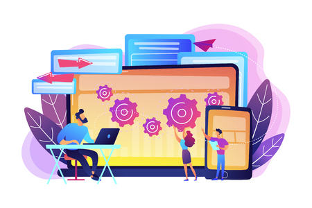 Tester and developer work with laptop and tablet. Cross platform bug founding, bug identification and testing team concept on white background. Bright vibrant violet vector isolated illustration Illustration