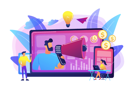 Marketer delivering ads with megaphone and devices. Cross-device marketing, cross-device marketing analysis and strategy concept on white background. Bright vibrant violet vector isolated illustration