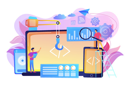 Engineer and developer with laptop and tablet code. Cross-platform development, cross-platform operating systems and software environments concept. Bright vibrant violet vector isolated illustration 矢量图像