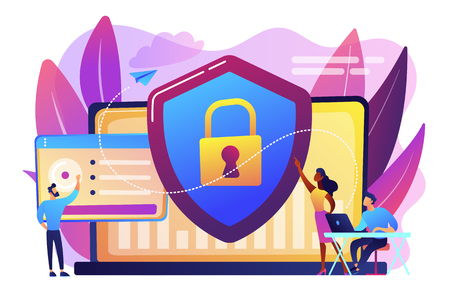 Security analysts protect internet-connected systems with shield. Cyber security, data protection, cyberattacks concept on white background. Bright vibrant violet vector isolated illustration