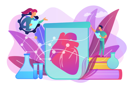 Scientists growing big heart in test tube in laboratory. Lab-grown organs, bioartificial organs and artificial organ concept on white background. Bright vibrant violet vector isolated illustration